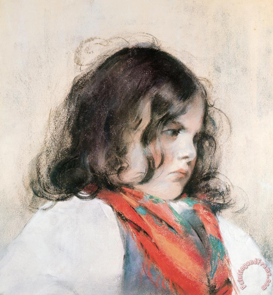 Head of a Child (pastel on Paper) painting - Mary Cassatt Head of a Child (pastel on Paper) Art Print