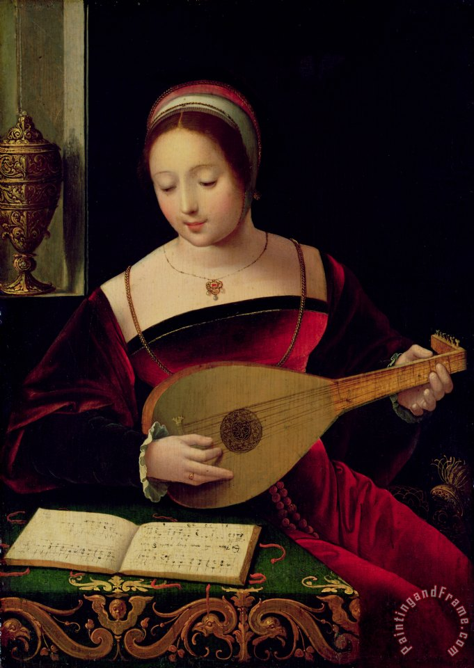 Mary Magdalene Playing the Lute painting - Master of the Female Half Lengths Mary Magdalene Playing the Lute Art Print