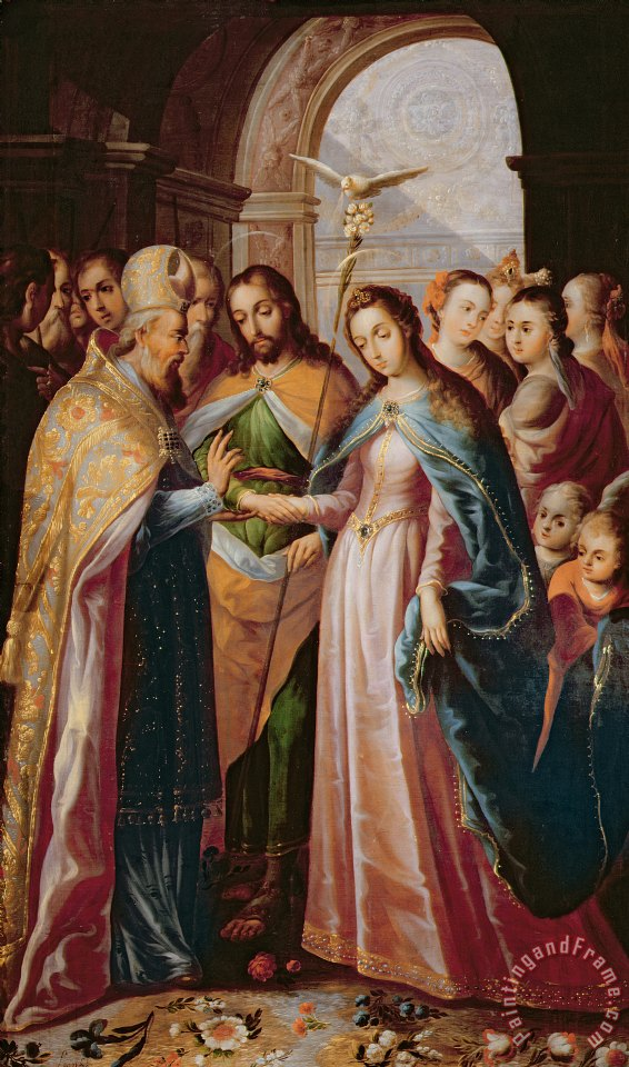 Mexican School The Marriage Of Mary And Joseph Painting The Marriage Of Mary And Joseph Print For Sale