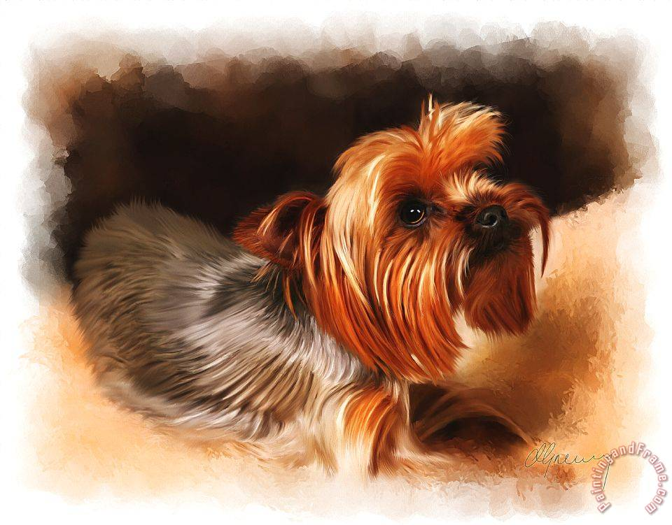 Michael Greenaway Cute Pet Dog Portrait Art Painting