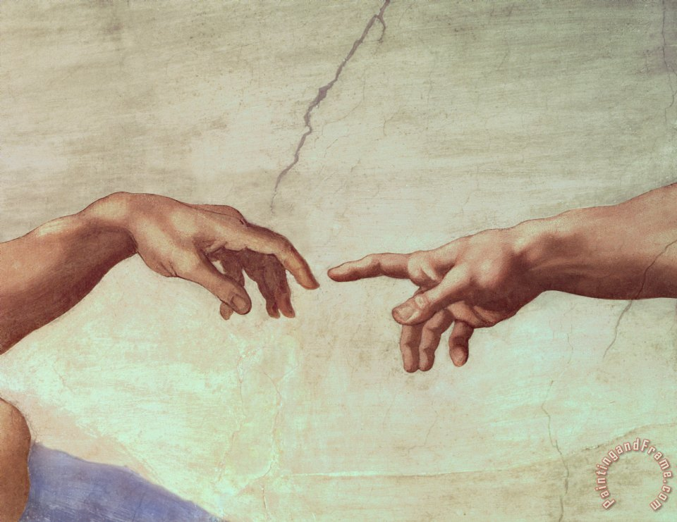 Detail from The Creation of Adam painting - Michelangelo Detail from The Creation of Adam Art Print