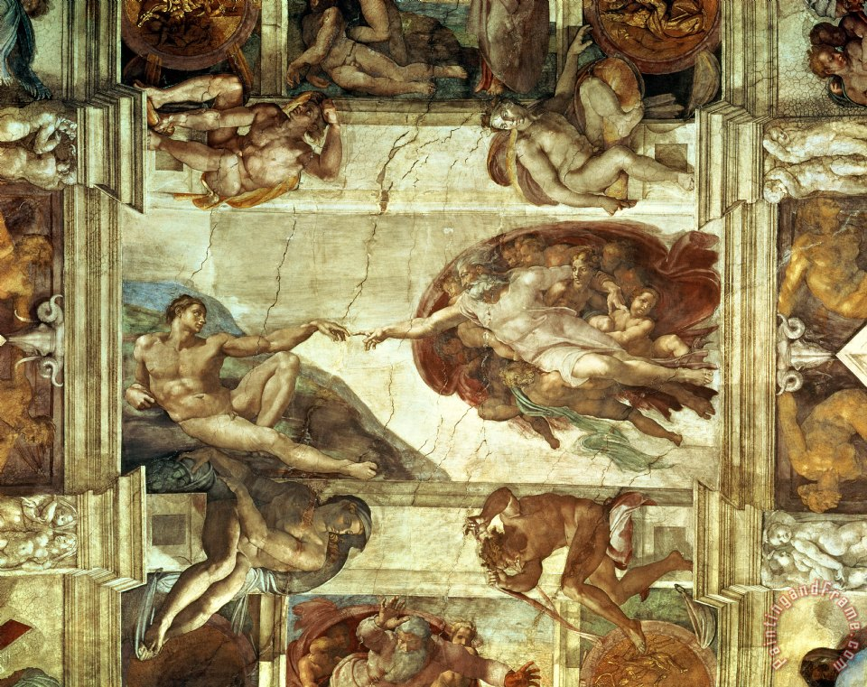 The Creation of Adam painting - Michelangelo The Creation of Adam Art Print