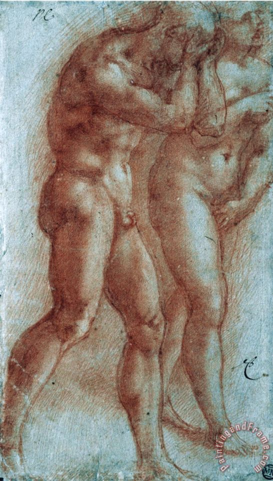 Adam And Eve Chased From Paradise Copy After Masaccio Red Chalk painting - Michelangelo Buonarroti Adam And Eve Chased From Paradise Copy After Masaccio Red Chalk Art Print