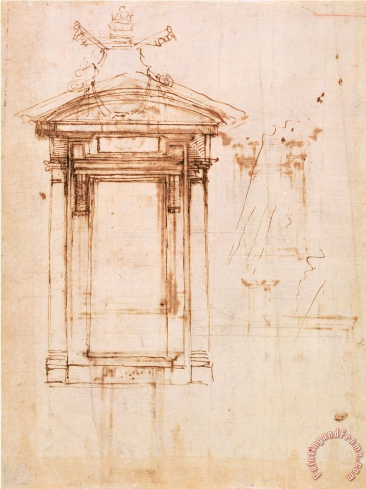 Michelangelo buonarroti architectural study painting for Printing architectural drawings