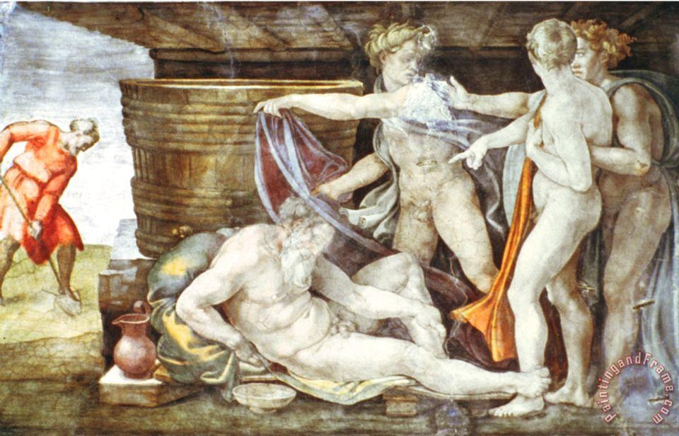 Sistine Chapel Ceiling Drunkenness Of Noah Painting Michelangelo Buonarroti