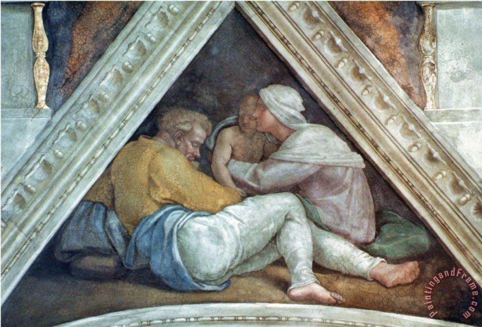 Sistine Chapel Ceiling The Ancestors Of Christ Pre Restoration Painting Michelangelo Buonarroti