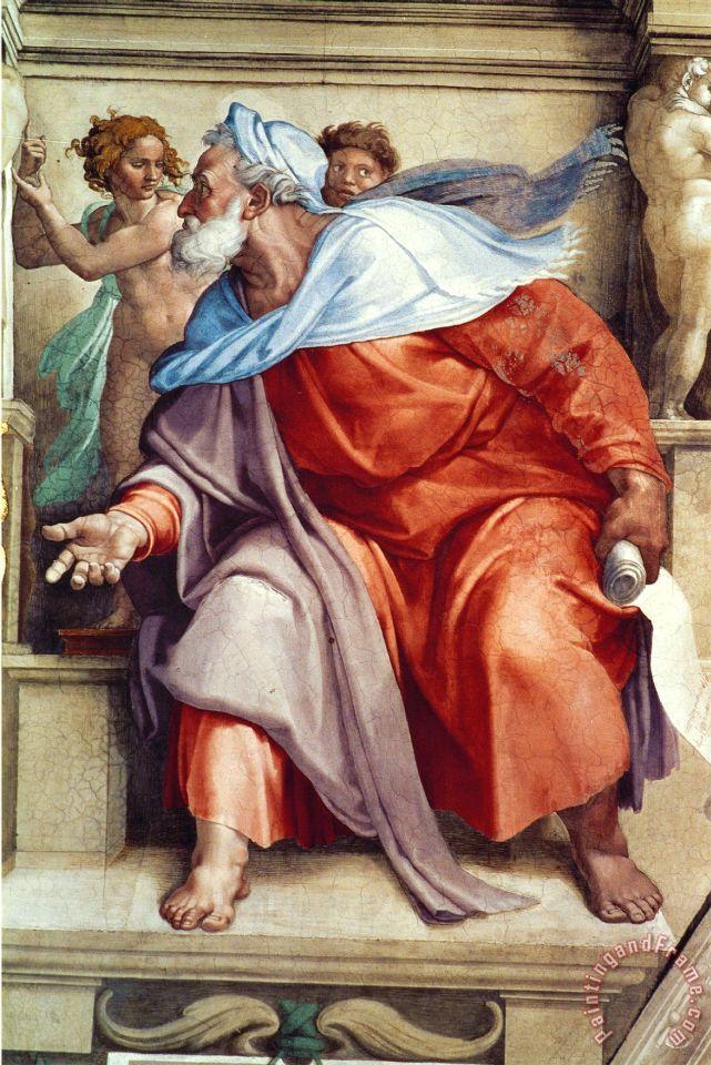 Michelangelo Buonarroti The Sistine Chapel Ceiling Frescos After Restoration The Prophet Ezekiel Framed Print By Michelangelo Buonarroti
