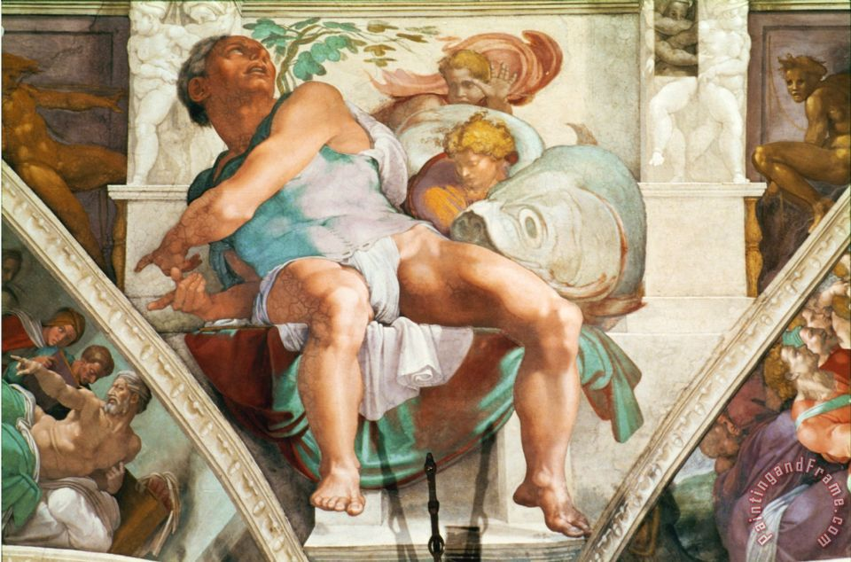 Michelangelo Buonarroti The Sistine Chapel Ceiling Frescos After Restoration The Prophet Jonah Painting The Sistine Chapel Ceiling Frescos After