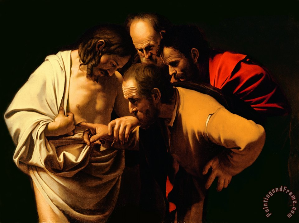 The Incredulity of Saint Thomas painting - Michelangelo Merisi da Caravaggio The Incredulity of Saint Thomas Art Print