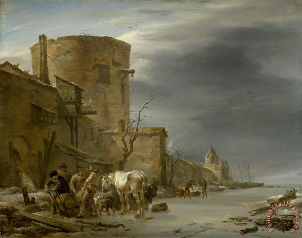 The City Wall of Haarlem in The Winter painting - Nicolaes Pietersz Berchem The City Wall of Haarlem in The Winter Art Print