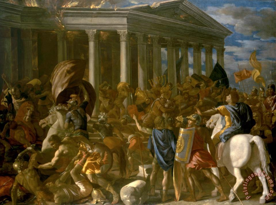 The Destruction And Sack of The Temple of Jerusalem painting - Nicolas Poussin The Destruction And Sack of The Temple of Jerusalem Art Print