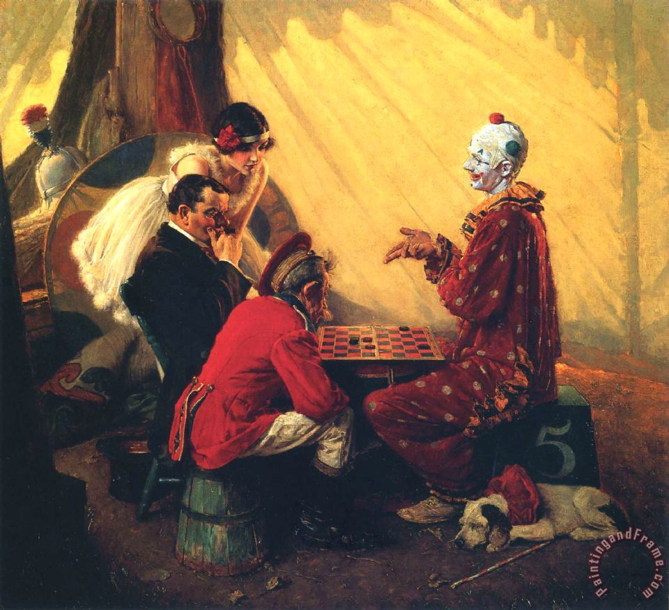 Norman Rockwell Checkers painting - Checkers print for sale