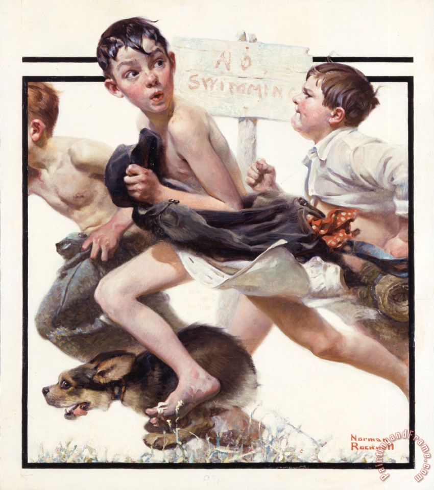 Norman Rockwell No Swimming 1921 Art Print