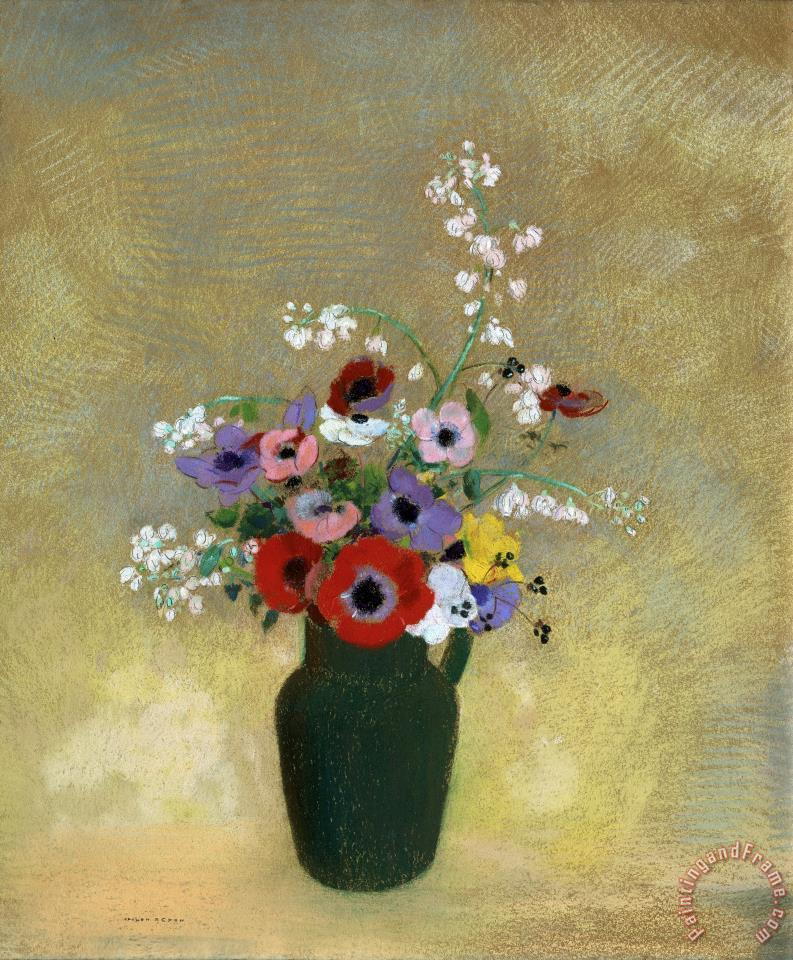 Large Green Vase with Mixed Flowers painting - Odilon Redon Large Green Vase with Mixed Flowers Art Print