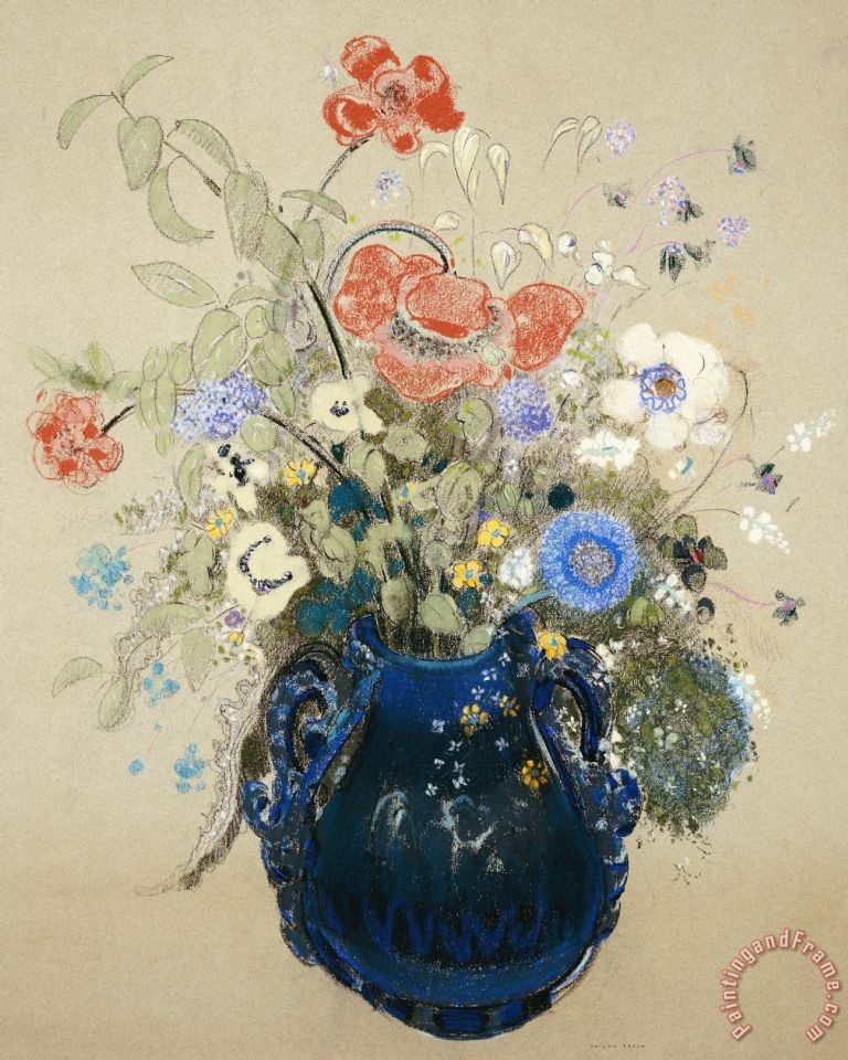 A Vase Of Blue Flowers painting - Odilon Redon A Vase Of Blue Flowers Art Print