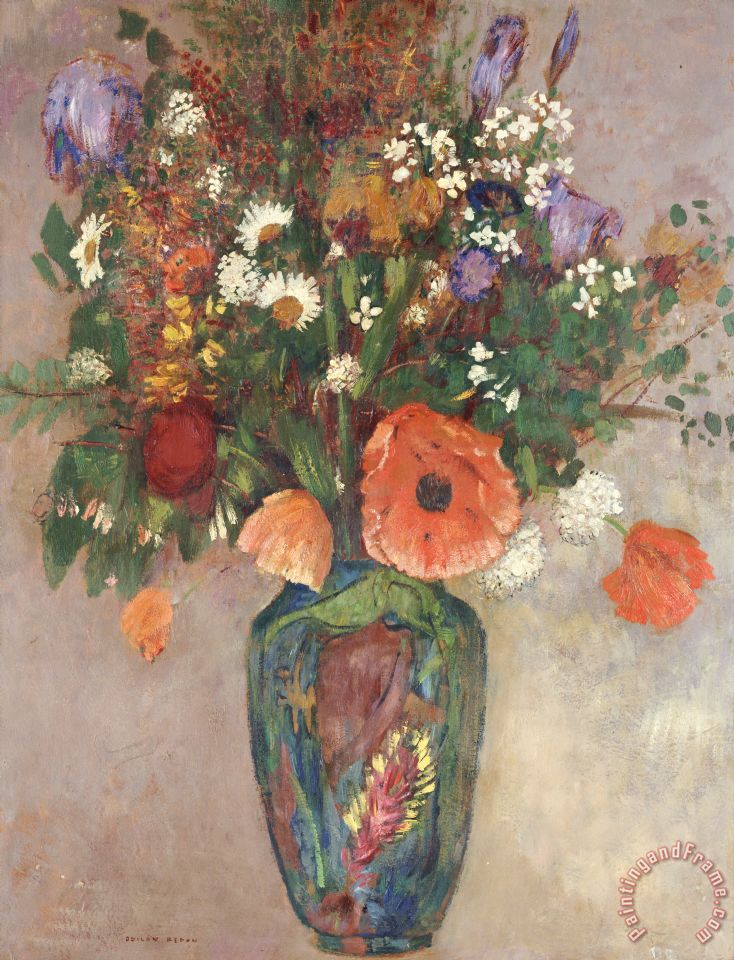 Bouquet Of Flowers In A Vase painting - Odilon Redon Bouquet Of Flowers In A Vase Art Print