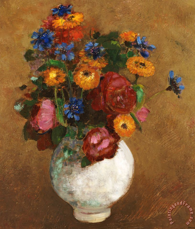 Odilon Redon Bouquet Of Flowers In A White Vase Painting Bouquet