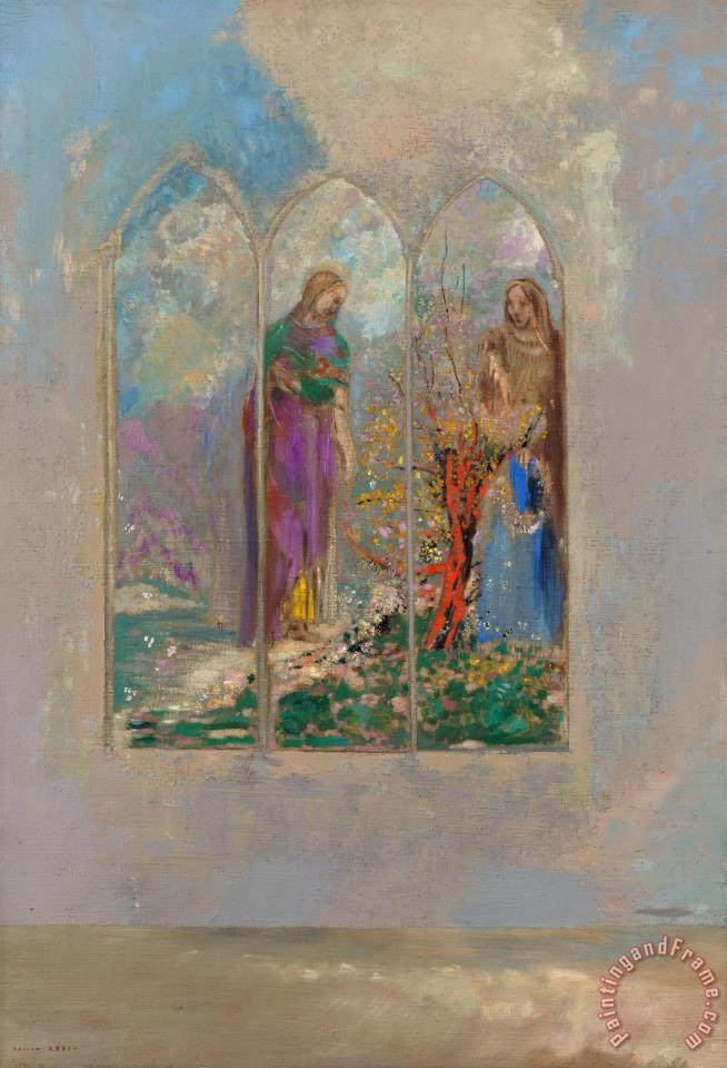 Odilon Redon Devotion Near a Red Bush Art Print