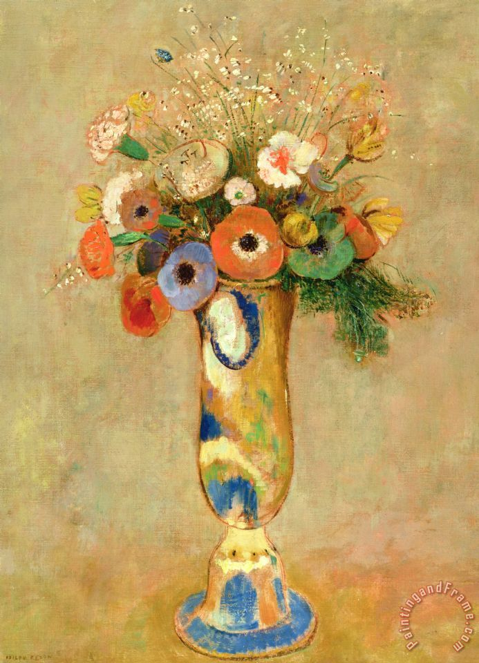 Flowers In A Painted Vase painting - Odilon Redon Flowers In A Painted Vase Art Print