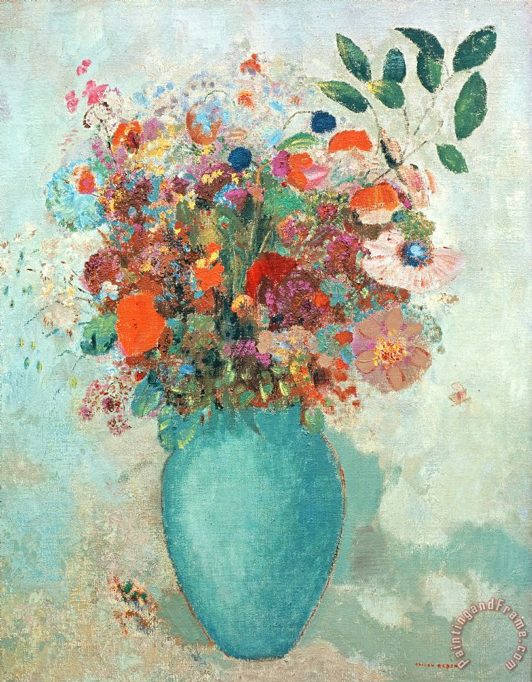Odilon Redon Flowers In A Turquoise Vase Painting Flowers In A