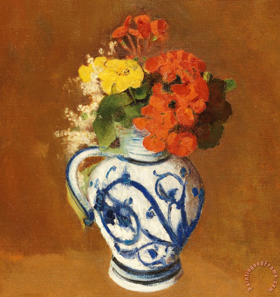 Odilon redon geraniums and other flowers in a stoneware vase geraniums and other flowers in a stoneware vase painting odilon redon geraniums and other flowers reviewsmspy