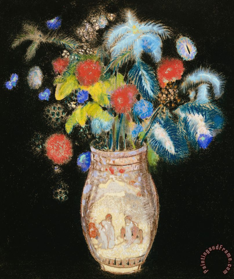 Large Bouquet On A Black Background painting - Odilon Redon Large Bouquet On A Black Background Art Print
