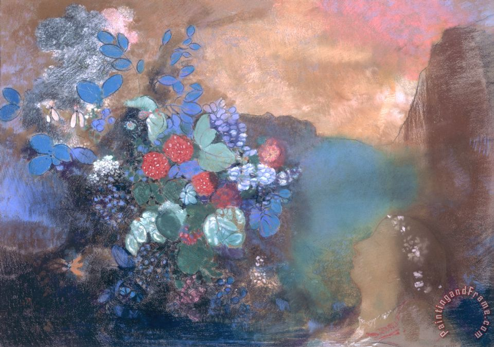 Ophelia Among The Flowers painting - Odilon Redon Ophelia Among The Flowers Art Print