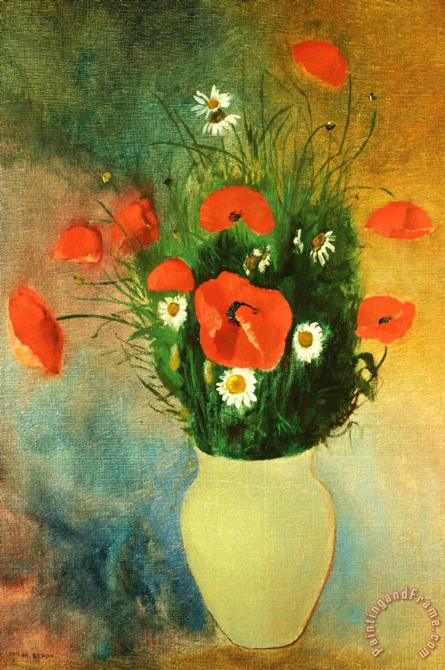 Poppies And Daisies painting - Odilon Redon Poppies And Daisies Art Print