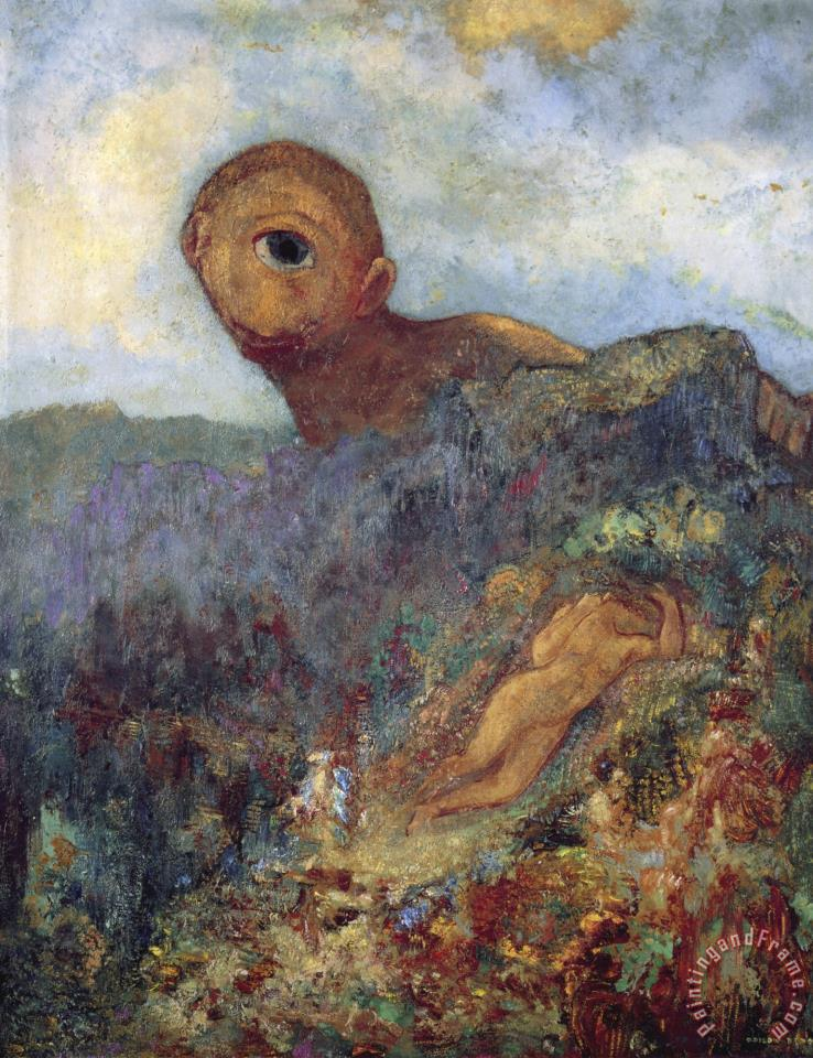 The Cyclops painting - Odilon Redon The Cyclops Art Print