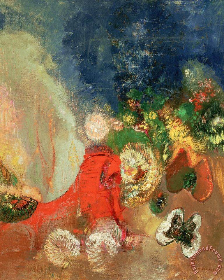 The Red Sphinx painting - Odilon Redon The Red Sphinx Art Print