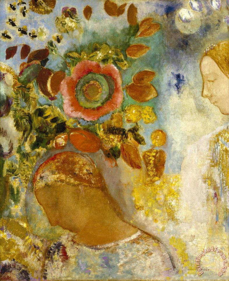 Two Young Girls Among Flowers, 1912 painting - Odilon Redon Two Young Girls Among Flowers, 1912 Art Print