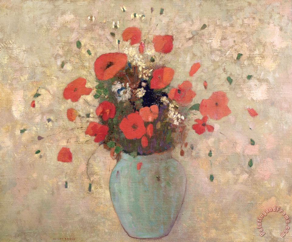 Vase Of Poppies painting - Odilon Redon Vase Of Poppies Art Print