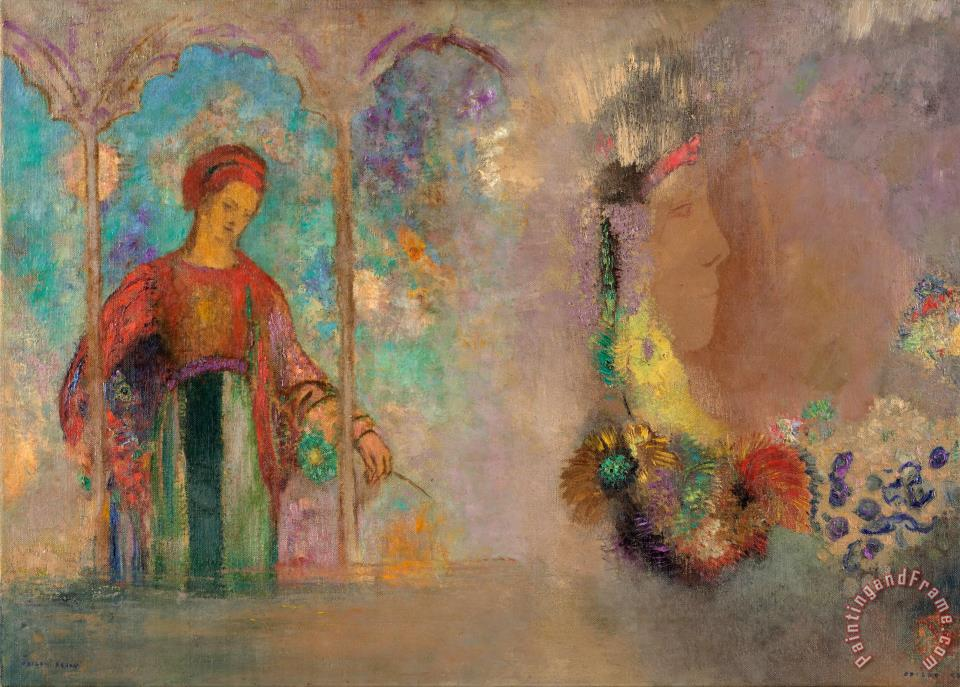 Woman in a Gothic Arcade Woman with Flowers painting - Odilon Redon Woman in a Gothic Arcade Woman with Flowers Art Print