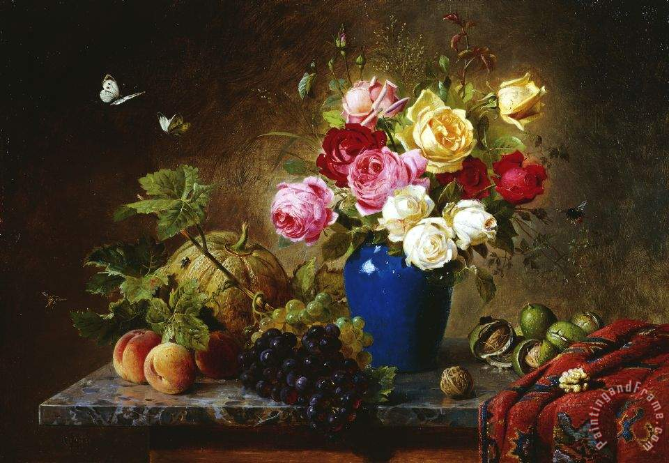 Olaf August Hermansen Roses In A Vase Peaches Nuts And A Melon On A