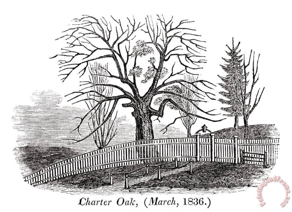 Others Hartford Charter Oak Painting Hartford Charter