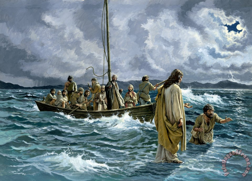 Christ walking on the Sea of Galilee painting - Others Christ walking on the Sea of Galilee Art Print