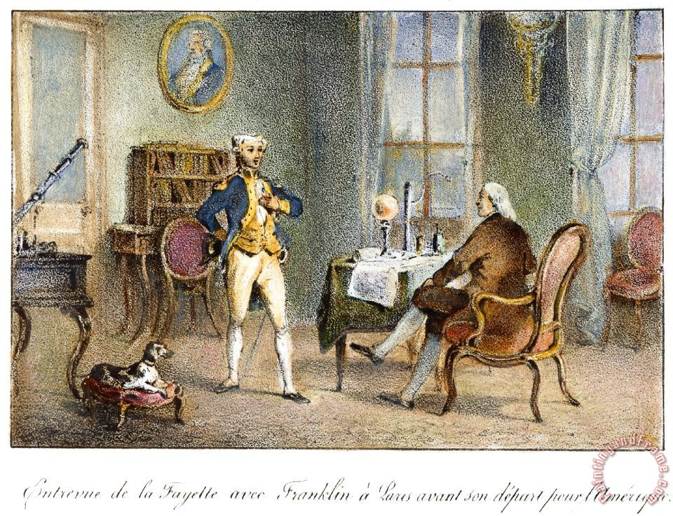 Others Franklin Lafayette 1777 Painting Franklin Lafayette 1777 Print For Sale
