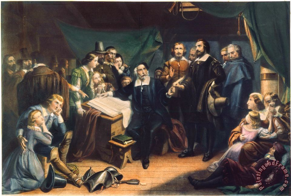 Others Mayflower Compact 1620 Painting Mayflower