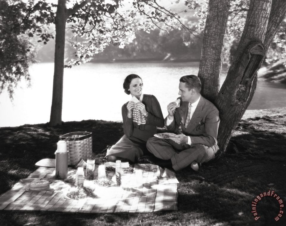 Silent Film Still: Picnic painting - Others Silent Film Still: Picnic Art Print