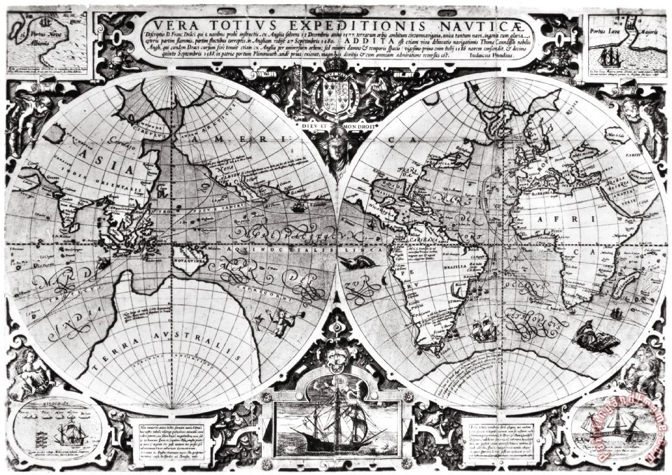 Others WORLD MAP, 16th CENTURY Art Print