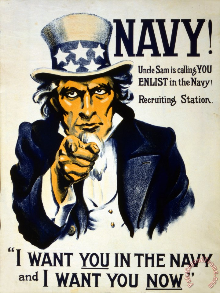 Others World War I 1914 1918 American Recruitment Poster 1917 Navy Uncle Sam Is Calling You Art Painting