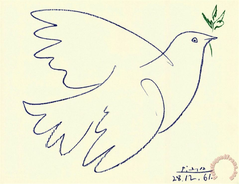 It is a photo of Inventive Picasso Bird Drawing