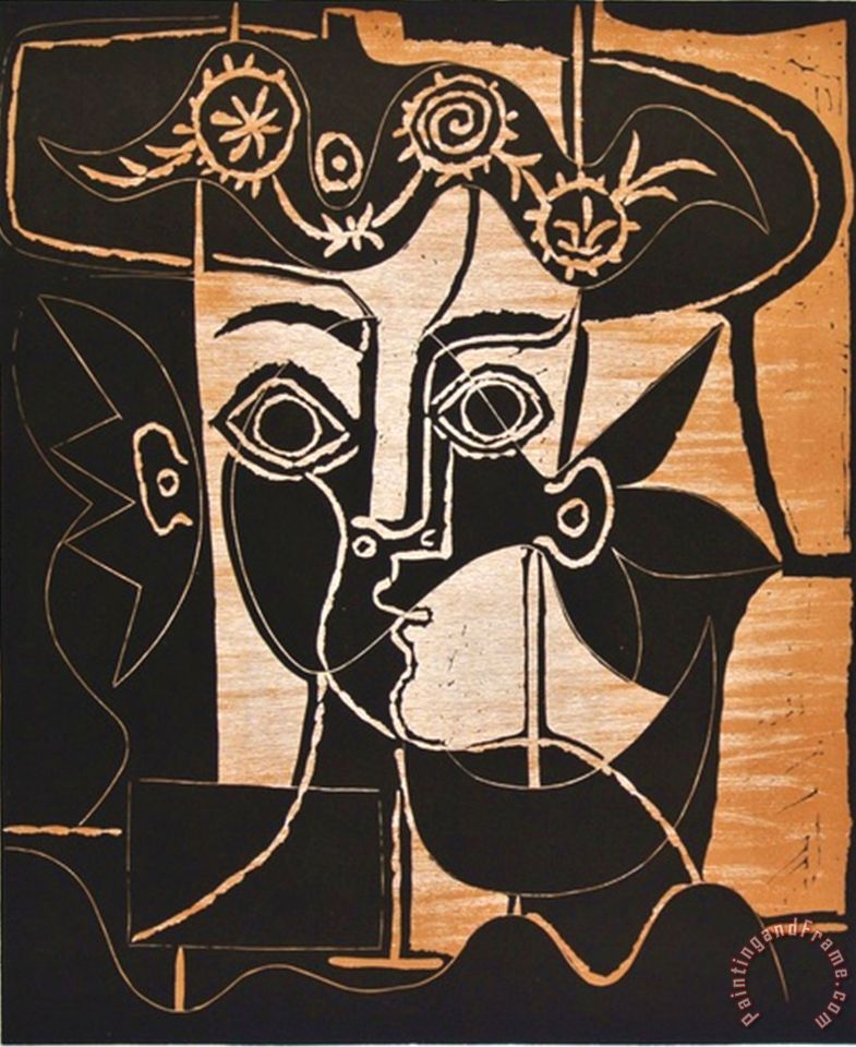 Pablo Picasso Large Woman S Head with Decorated Hat Art Print