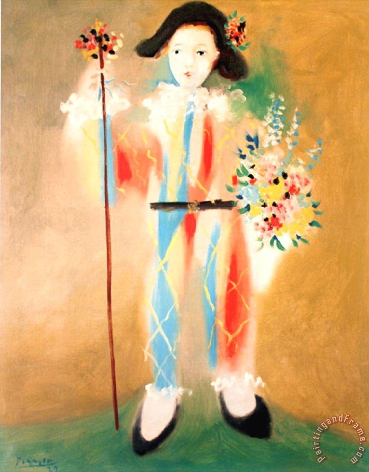 Pablo picasso le petit pierrot aux fleurs painting le for Picasso petite fleurs