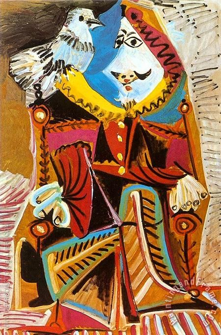 Pablo Picasso Musketeer with Dove 1969 Art Painting