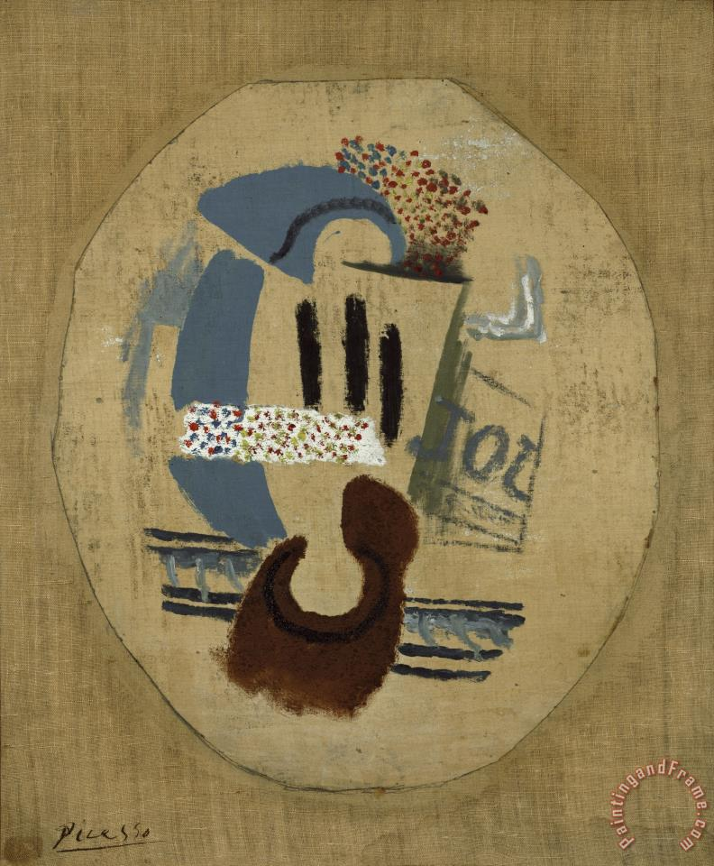 Still Life (wineglass And Newspaper) painting - Pablo Picasso Still Life (wineglass And Newspaper) Art Print