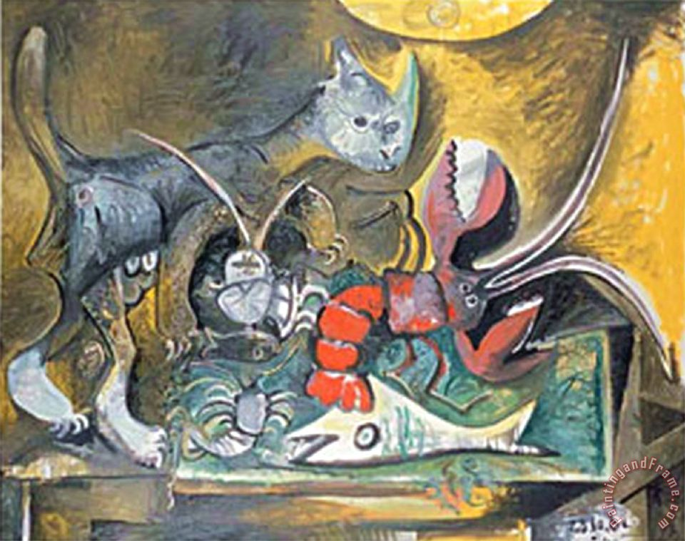 Pablo Picasso Still Life with Cat And Lobster 1962 Art Painting
