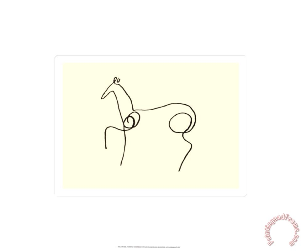 Line Drawing Picasso : Pablo picasso the horse painting print for sale
