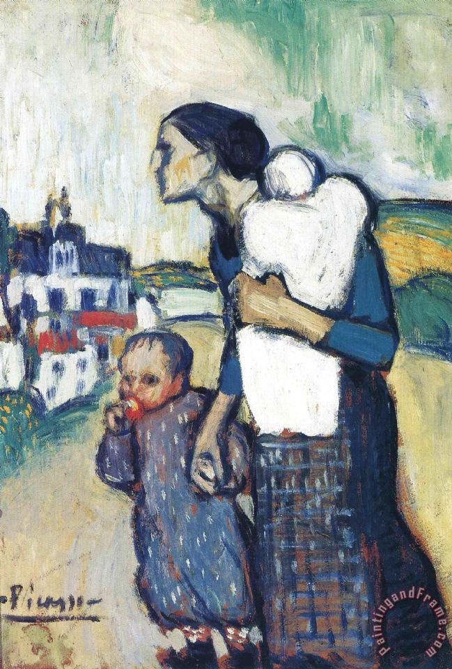 The Mother Leading Two Children 1901 painting - Pablo Picasso The Mother Leading Two Children 1901 Art Print