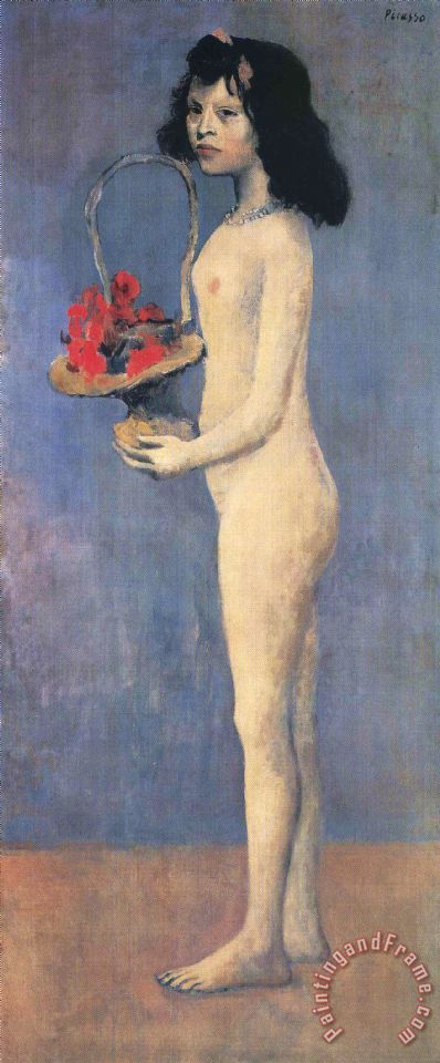 Young Naked Girl with Flower Basket 1905 painting - Pablo Picasso Young Naked Girl with Flower Basket 1905 Art Print